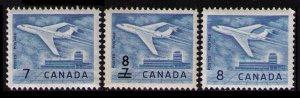 CANADA 1964 7c # 414, 8c ON 7c 430, 8c 436 JET PLANE CPL SET MH
