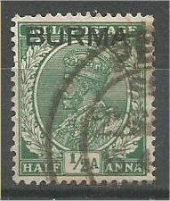 BURMA, 1937, used 1/2a, Overprinted, Scott 2