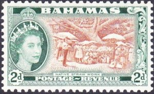 BAHAMAS 1962 QEII 2d Yellow-Brown & Deep Myrtle Green  SG204a MH