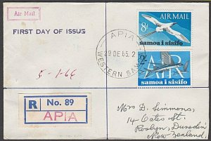 SAMOA 1965 Air Mail set of 2 on registered first Day cover..................B159
