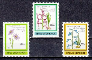 Albania, Scott cat. 2307-2309. Flowers & Orchids issue.