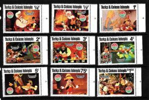 Turks & Caicos-Sc#442-50-unused NH set-Disney-Pinocchio-1980-