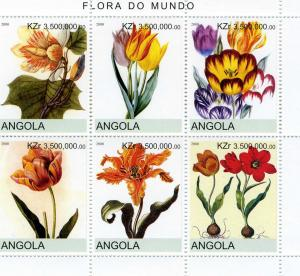 Angola 2000 Tulip Flowers Sheet (6) Perforated mnh.vf