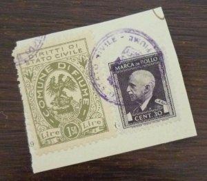 Fiume c1946 Croatia Italy Yugoslavia Revenue Stamps On Fragment  C1