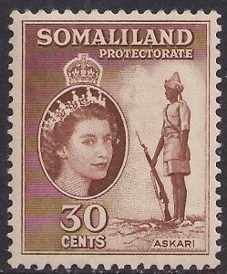 Somaliland 1953 - 58 QE2 30 ct Reddish Brown MM SG 141 ( R1048 )