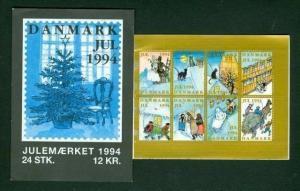 Denmark. Booklet 1994 Christmas Seals Mnh.  HC Andersen Fairytales. Cat,Horse