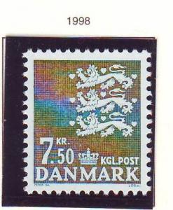 Denmark Sc 909 1998 7.5 kr dark blue green State Seal stamp mint NH