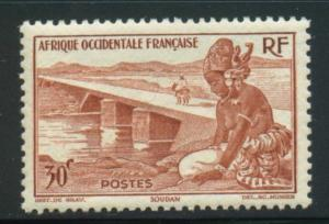 French West Africa Sct # 37; Mint hinged