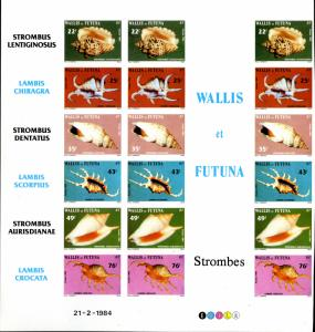 WALLIS &FUTUNA 309-314 MNH IMPERF SHEET OF 3 SETS BIN $60.00  OBO
