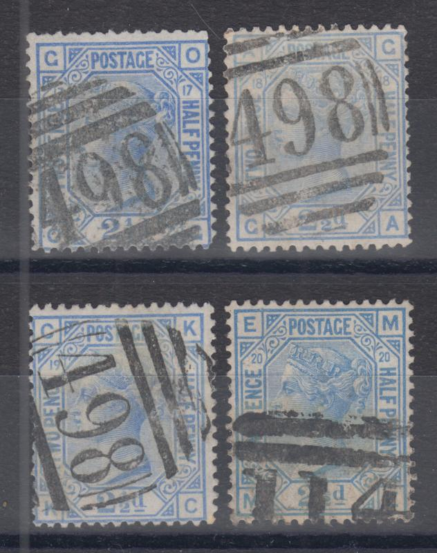 Great Britain Sc 68 used 1880 2½p Queen Victoria, Plate 17, 18, 19, 20 examples