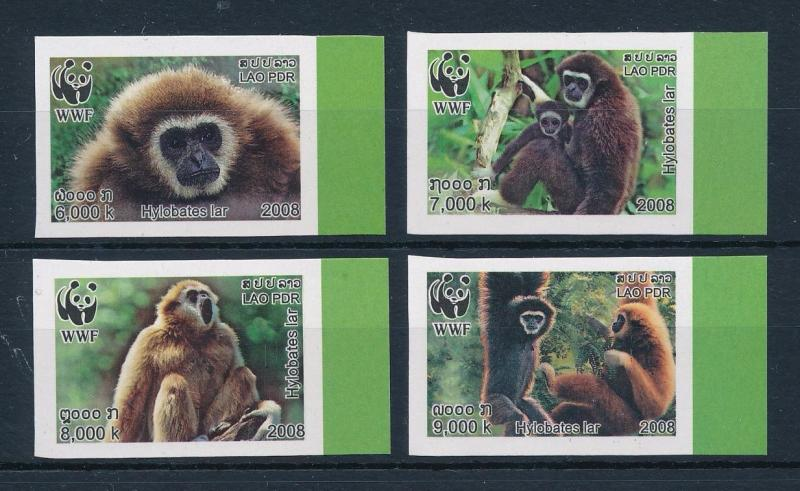 [54072] Laos 2008 Wild animals Mammals WWF Monkeys Imperforated MNH