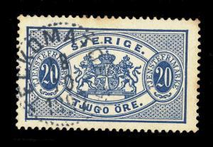 SUÈDE / SWEDEN 1897 TECKOMATORP (Type 22) on MiD15 20Öre Bleu / Blue