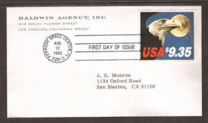US Sc 1909 FDC. 1983 $9.35 Eagle & Moon Express Mail