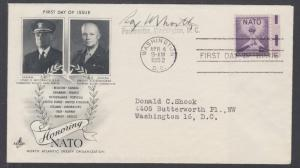 US Mel 1008-3 FDC. 1952 3c NATO issue, ArtCraft cachet, Signed by Roy M. North