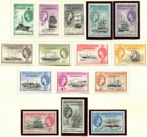 Falkland Islands SC# 1L19-33 Ships set 1L19-31 MH 1L32-33 M   NH SCV $238.25