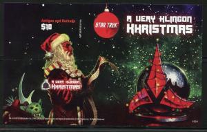 ANTIGUA  2016 1st TIME OFFERED KLINGON X'MAS STAR TREK IMPERF  S/S  MINT NH