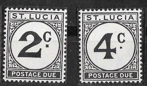 St. Lucia #   J11-12  Postage Due   Wmk.314  (2)    Mint NH
