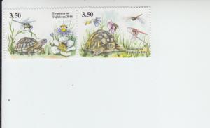 2016 Tadzhikistan Turtles & Dragonflies Pair (Scott 466) MNH