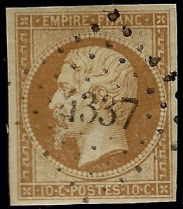 France Sc #14 Used VF sm hr SCV$9...French Stamps are Iconic!