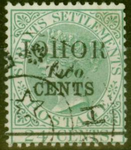Johore 1891 2c on 24c Green SG18 Type 18 Superb Used