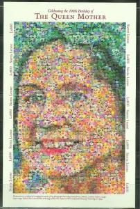 SIERRA LEONE  IMPERFORATED 100th BIRTHDAY QUEEN MOTHER  SHEET  SC#2359   MINT NH