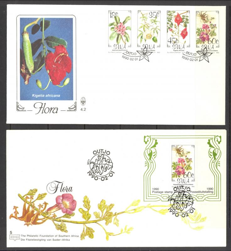 South West Africa Sc# 641-644a FDC Set/2 1990 Flowers