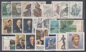 Germany Berlin Sc 9N88/9N488 used 1952-1984 issues, 22 diff incl 4 cplt sets, VF