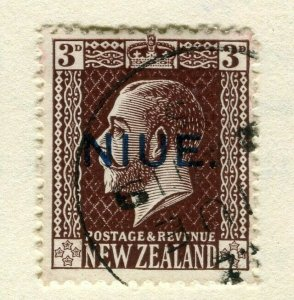 NIUE; 1917 surcharged issue used 3d. value