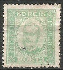 HORTA, 1892, used 80r, King Carlos Scott 8 crease