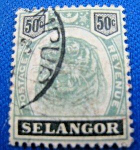 MALAYA - SELANGOR   1895  -  SCOTT # 35   USED   (Hm9)