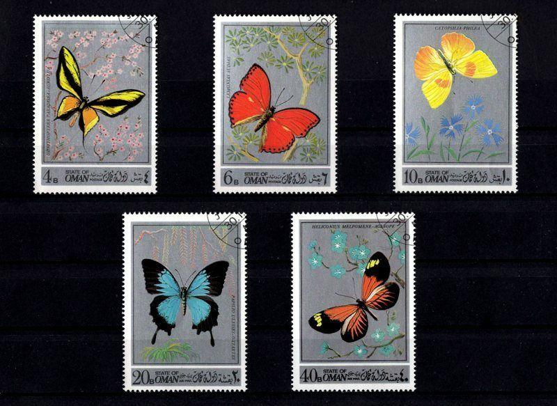 OMAN - 1973 - BUTTERFLIES - INSECT - BUTTERFLY - 5 X CTO - NH SET!