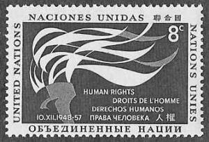 UN New York SC 58 - Flaming Torch Human Rights Day - MNH - 1957