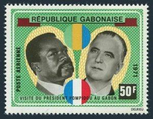 Gabon C107,hinged.Mi 419. Presidents Bongo,George Pompidou,France.Visit,1971.