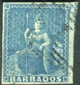 BARBADOS-1852-55 1d Blue.  A fine used example Sg 3