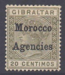 Morocco Scott 14 - SG11, 1899 Gibraltar 20c unused gum fault
