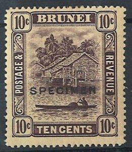 Brunei 1908 10c ovpt Specimen vf mint sg4as c£60