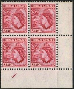 TRINIDAD & TOBAGO-1955 $4.80 Cerise Perf 11½ Block of 4 Sg 278a UM V48548