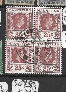 MAURITIUS (P2608B) KGVI 25C SG 259B BL OF 4 SON CDS VFU