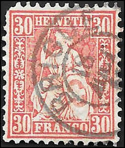 1862 SWITZERLAND  SC# 46 USED F SOUND CV $50.00