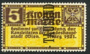 AUSTRIA 1924 TAUSEND on 5k VIENNA ADMINSTRATION FEE REVENUE BFT.11 VFU
