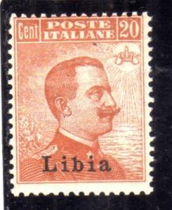 LIBIA 1918 SOPRASTAMPATO D'ITALIA ITALY OVERPRINTED CENT. 20c MLH