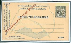 FRANCE : POSTAL STATIONERY: TELEGRAMME VALABLE POUR TOUT PARIS !
