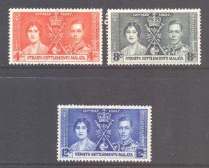 Straits Setts Scott 235/237 - SG275/277, 1937 Coronation Set MH*