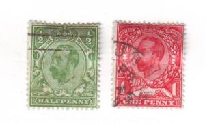 Great Britain Sc153-4 1912 1/d & 1d G V stamp re-eng  used