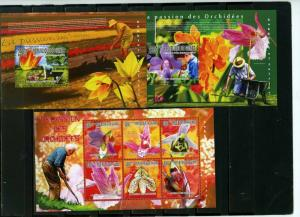 GUINEA 2010 FLORA FLOWERS SET OF SHEET OF 6 STAMPS & 2 S/S MNH