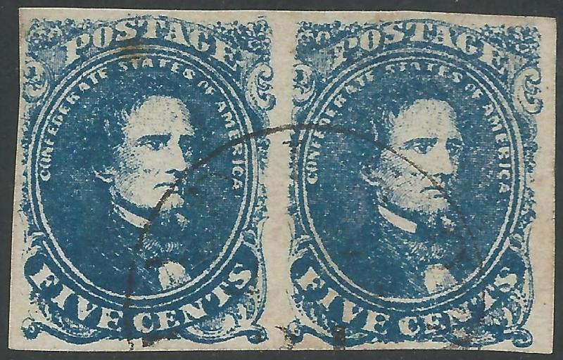 CSA Scott #4 Stone 2 Pos 46-47 Used Pair of Confederate Stamps