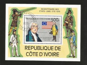 B)1976 IVORY COAST, CHARACTER, FLAG, JEFFERSON, AMERICAN SOLDIER, DECLARATION OF