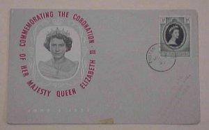 TRISTAN DA CUNHA QUEEN ELIZABETH II CORONATION FDC 1953  CACHETED