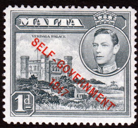 Malta KGVI 1948 1d Grey SG236a Mint Hinged