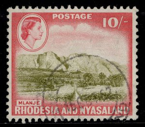 RHODESIA & NYASALAND QEII SG30, 10s olive-brown & rose-red, FINE USED. Cat £26.